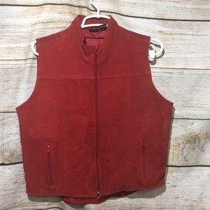 Tangents genuine Leather Vest Red/orange Medium
